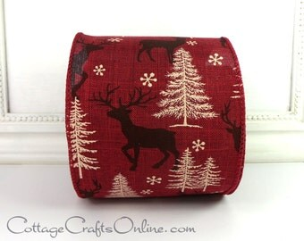 "CLEARANCE! Christmas Wired Ribbon, 4"" wide, Burgundy Red with Brown Deer Print - TEN YARD Roll - d. stevens  Wire Edged Ribbon"
