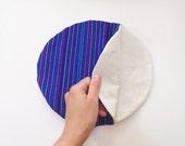 Royal Blue Tortilla Warmer - Tortillero - Tortilla Keeper -  Bread Keeper - Mexican Fabric Cozy - Ethnic Housewares -Kitchen Stripes