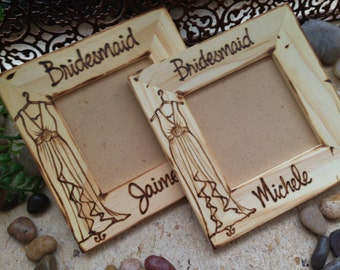 Bridesmaid Maid of Honor wedding gift. Set of 2. Wood frame w/ dress & name hand-engraved!