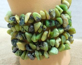 Green Polished Gemstone Cuff Bracelet, Wrap Around Green, Polished Gemstone Wrap Bracelets Green Faux Turquoise Wrap Bracelets by Beadgarden