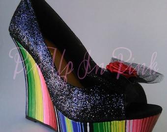 Black Glitter Serape Wedge Heels