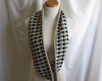 Infinity Scarf Cowl Crochet - Camel, Black, Blue & Off White