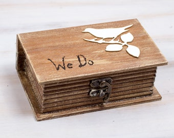 Ring Bearer Box Wedding Bird Ring Box We Do Rustic Ring Bearer Box Custom Ring Bearer Box  Pillow Alternative Birds Ring Box Maid Of Honor