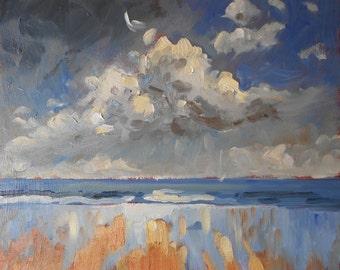 "Seascape Oil Painting. Cloud Over Druridge Bay, Northumberland. Original Impressionist Painting. 11"" x 9"""