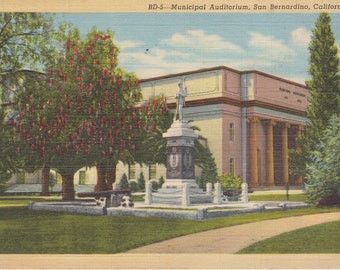 Municipal Auditorium, San Bernardino, California - Vintage Linen Postcard - Unused (YY)