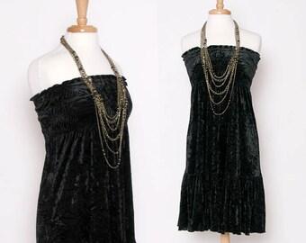 Vintage 90s Black Velvet Summer Dress / Strapless Dress / Drop Waist