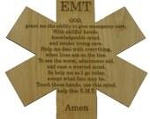 "Emergency Medical Technician Prayer on 8"" Red Alder EMT Cross"