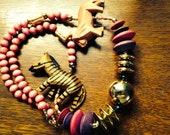 Vintage Boho Wooden Animal Necklace Featuring Gold, Pink, and Purple - Ethnic / Tribal meets Shabby Chic
