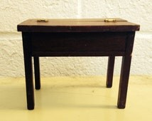 Vintage Dollhouse Wooden Roll Top Desk - Miniature Doll House Furniture