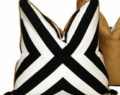 """20"""" B&W X Pattern Pillow with Gold Velour Backing"""