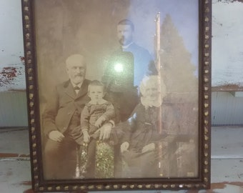 Antique Photo , 4 generations , 1792-1880's , Double Glass , Van Sickles