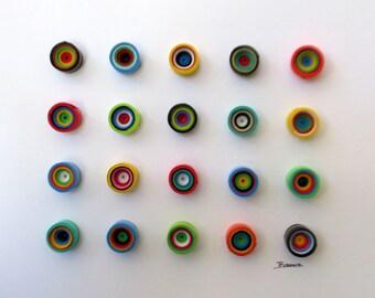 """Modern wall art, Circular wall art, Original 3-Dimensional paper fine art, rolled paper art, """"100 Times 'Round"""""""