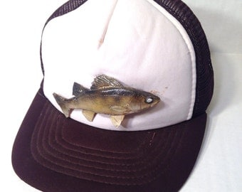 1980's trucker hat with a real taxidermied fish on it