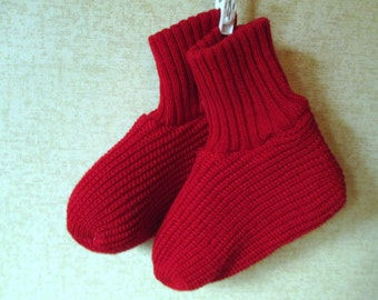 Booties Red Slipper Socks womens girls vintage sox small house slippers cozy warm fireside cabin acrylic knit boot socks