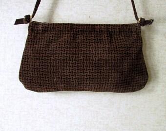 Suede Shoulder Bag Vintage 60s Mad Men era high fashion hipster chocolate brown suede purse with spring frame Walborg handbag made in Italy