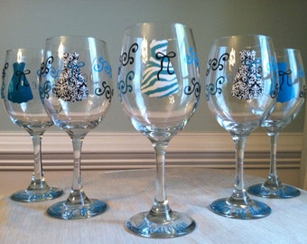 2 Personalized Bride and Bridesmaid Wine Glasses