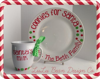 Personalized Cookies and Milk for Santa Plate and Mug Set