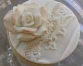 Cookie - Rose and Lace - Perfect as a Gift, Wedding, Rehearsal Dinner, Bridal Shower Favors. Custom Colors.