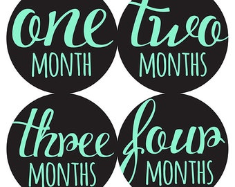 FREE GIFT, Monthly Baby Stickers, Girl, Boy, Gender Neutral, Baby Month Stickers, Belly to Baby, Baby Belly Stickers, Mint, Black