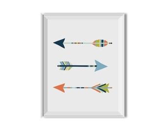 Arrows Art, Tribal Arrows, Tribal Art, Nursery Print, Children's Wall Art, Arrows, Tribal, Boy, Blue