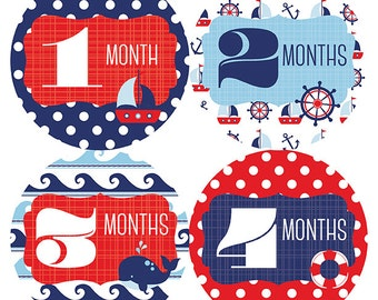 FREE GIFT, Baby Month Stickers Boy, Nautical Monthly Baby Stickers, Nautical, Anchor, Sail Boat, Nautical Nursery Decor, Baby Shower Gift