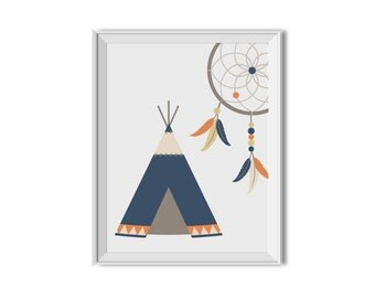 Teepee, Teepee Art, Dream Catcher, Dreamcatcher, Tee Pee, Tribal Decor, Nursery Art, Children's Room Art, Chevron, Blue, Orange, Tribal