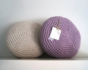 Crochet pillow. Crochet Round pillow. Crochet cushion. Coussin crochet. Cojin ganchillo. Nursery decor. Cuscino uncinetto.