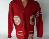 vintage lettersweater, red and white wool,Corona Cardinals, 1973, Robert  from Diz has Neat Stuff