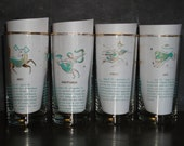 Set of Four Turquoise and Gold Zodiac Astrology Highball Glasses