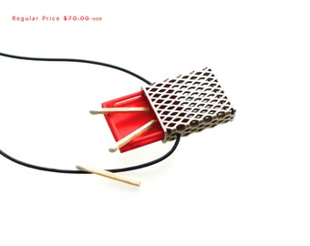 SALE!- 3d printed necklace- Matchbox Pendant in Stainless Steel and Red, Slim - modern, geometric jewelry, personalized jewelry