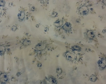 1 yard Durham Quilt collection printed by Lecien made in Japan blue shabby chic roses on white 1 yard