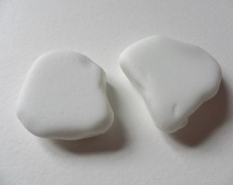 2 large white milk sea glass - Lovely beach find pieces from England
