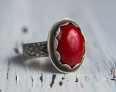Red Coral Sterling Silver Ring-Floral Band Ring-Coral Jewelry