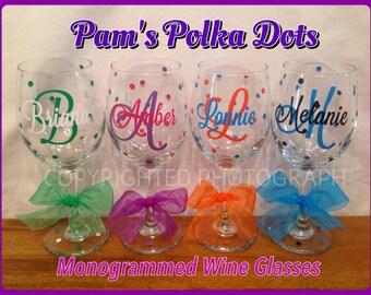 Personalized MONOGRAMMED WINE GLASS Initial Monogram Name Polka Dots Wedding Birthday Gift Bride Bridesmaid Groom Groomsman