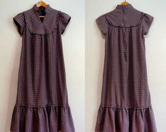 Vintage 70's Boho Prairie Style Plaid Dress - Rags by Kressandra