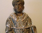 "Antique Saint Anthony 24"" Colonial Santos Statue, 19th Century, Carved Wood"