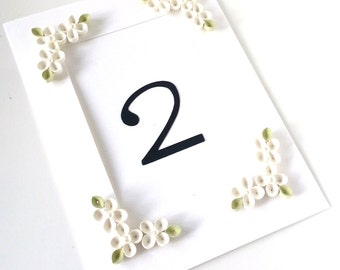 White Wedding Table Number Cards - Customizable
