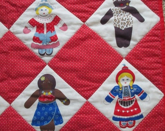 Vintage Dolls of the World small quilt or wall hanging