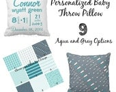 "Custom Throw Pillow - Baby Name and Birth Stats - Aqua, Teal and Gray Personalized Baby Pillow- 16"" X 16"""