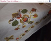 20% Off 1960s 70s retro orange brown cotton tablecloth for your vintage Table