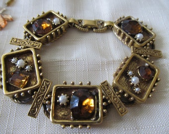 Vintage Antique Style Bracelet with Amber Stones and Faux Pearls