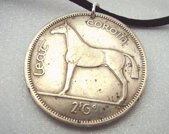 1962 Irish Horse Necklace - Vintage IRELAND HORSE coin necklace - Irish mule and harp - Irish necklace - Year of the Horse - equestrian