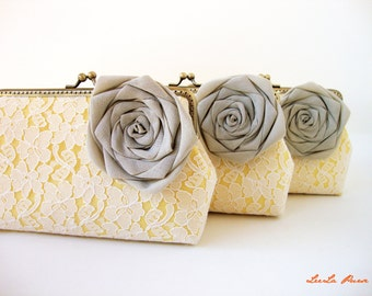 Bridesmaid Gifts / Set of 3 Yellow Mustard Lace Clutches / Gift ideas / Bridesmaid Clutches / wedding shower gift
