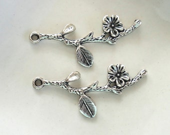 Antiqued Silver Pewter Branch With Flower And Leaf Tibetan Style 41x17mm Pendant - 2 Pieces (QB005)
