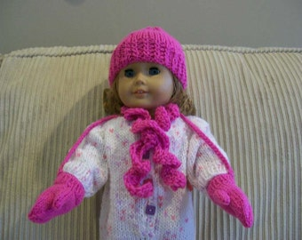 81) Knit Hat and Mittens for 15 and 18 Inch Dolls  American Girl Bitty Baby Cabbage Patch Preemie Hat Mittens Scarf
