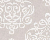 Dena Designs - Taza Gray Fabric , Natural Neutral - Ribbon Damask PWDF110