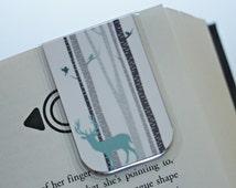 Wildlife Magnetic Bookmark, Teal Deer in Aspen, Birch Trees, Nature, Manly Bookmark, Hunting Bookmark