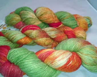 """Soft luxurious alpaca yarn, worsted weight """"orchard"""" chartreuse, gold, red 220yds"""