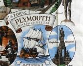 Vintage Plymouth MA travel souvenir towel American history Mayflower II Pilgrim Rock Thanksgiving Kay Dee
