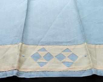 Vintage Light Blue Light Peach Reverse Applique Linen Blend Towel